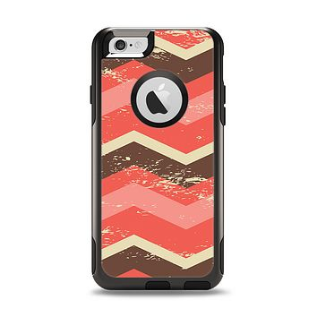 The Coral & Brown Wide Chevron Pattern Vintage V1 Apple iPhone 6 Otterbox Commuter Case Skin Set