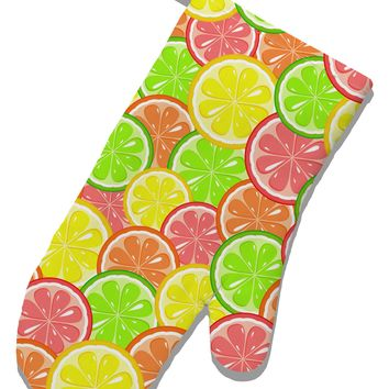 Colorful Citrus Fruits White Printed Fabric Oven Mitt All Over Print