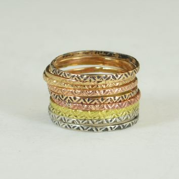 Bohemian Tribal Zigzag Stacking Rings- A19