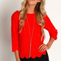 Rosebud Scalloped Blouse Red