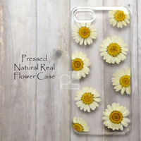 JAW Daisy Floral Natural Pressed Real Flower Bling Clear Resin Hard Skin Case Cover For iPhone 4 4s 5 5c 5s 6 plus iPod touch 5 Motorola Moto E X G