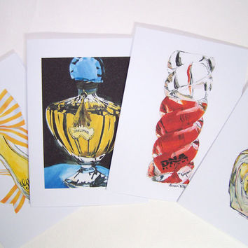 Perfume Bottle Painting Note Card Set
