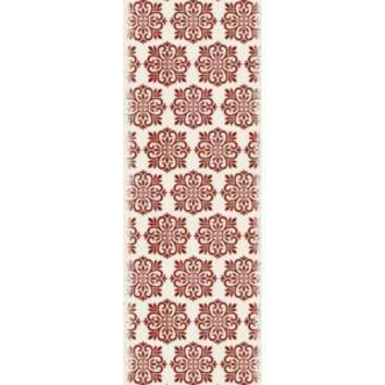 Modern European Design  Size Rug: 2ft x 6ft red & white color with a weather aged finish super durable and multilayer technical grade vinyl rug.