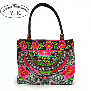 Vintage Embroidery Women Handbag National Ethnic Canvas Totes Wood Beads Double Layered Travel  Shoulder Bag Sac Femme Bolsos