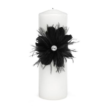 Black Feathered Flair Unity Candle - Perfect Wedding Gift