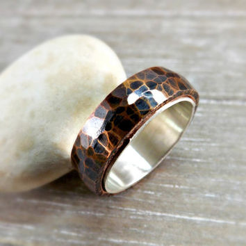 copper silver ring domed ring band forged copper ring sterling silver lining hammered ring rustic wedding ring steampunk ring mens ring
