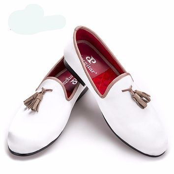 New white sequined cloth shoes with brown tassel fashion handmade loafers