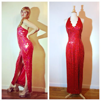 Red Sequin Gown Jessica Rabbit Dress Scalloped Collar 80s Prom Dress Sexy Red Carpet Fancy Gown size 8