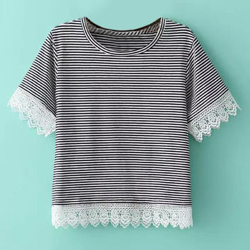Black and White Striped Lace Panel T-Shirt