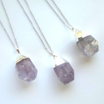 Amethyst Necklace Silver Dipped Pendant Amethyst Drop Pendant Purple Stone Necklace Silver Plated Crystal Stone Amethyst Jewelry Mineral