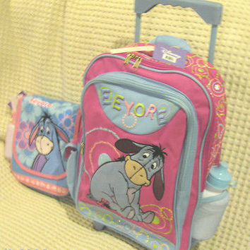 "WALT DISNEY WINNIE THE POOH EEYORE 16"" ROLLING BACKPACK & MATCHING LUNCHBOX-NEW"