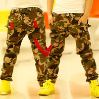 New Spring Boy Camouflage Jeans Baby Boys Jeans Pants Designer Kids Jean Children's Elastic Waist Denim Long Pant