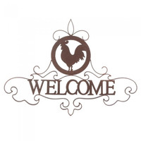 Rooster Silhoutte Welcome Sign
