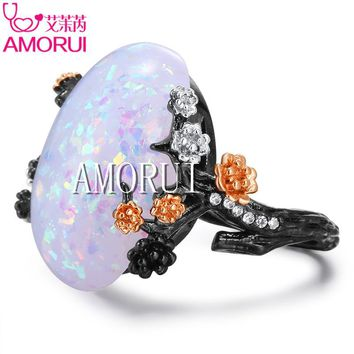 AMORUI Vintage Black Gold White Fire Opal Tree Flower Wedding Rings for Women Fashion CZ Stone Plum Blossom Ring Gift Jewelry