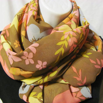 Brown, Pale Blue, Seafoam, Pink and Orange Floral Print Infinity Scarf