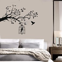 Vinyl Decal Animals and Birds Wall Stickers Caged Bird Tree Branch Let Bird Free Unique Gift (n388)