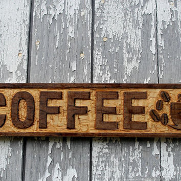 wooden COFFEE sign hand carved old fashioned kitchen decor restaurant wall art cafe decor