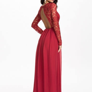 Red Floral Lace Long Sleeve Backless Maxi Dress