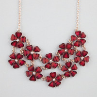 Full Tilt 2 Row Flower Statement Necklace Burgundy One Size For Women 23230532001
