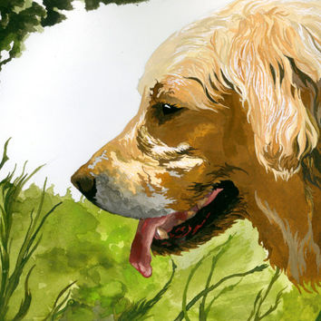 Golden Retriever Artist Watercolor Print, Dog Themed Dog Lover Ready to Frame Prints, Animal Lover Art, Golden Retriever Ink Rendering