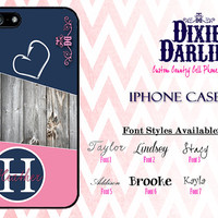 Country Inspired iPhone 4 / iPhone 4S / iPhone 5 / iPhone 5S / iPhone 5C Stylish Fishing Cell Phone Case - Pink & Navy Hook Heart (CP5001)