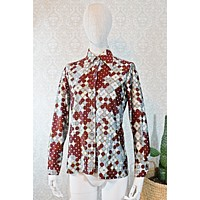 Vintage Honeycomb  Abstract Blouse