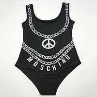 "Hot Sale ""Moschino"" Summer Beach Stylish Ladies Print Vest Style One Piece Bikini Swimwear Black I12275-1"