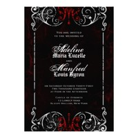 Gothic Victorian Spooky Red, Black & White Wedding Custom Invite