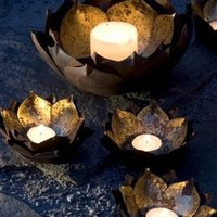 Gold Leafed Metal Lotus Flower Candle Bowls