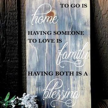 """Family Blessings Sign - Heavy Pinewood 22"""" tall"""