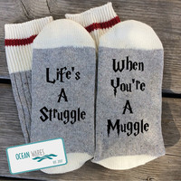 SUPER SOFT Novelty Word Socks, muggle, struggle, Harry Potter, gift, Funny Socks, Word socks, novelty socks, personalized