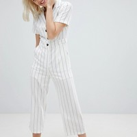 Emory Park Relaxed Jumpsuit In Fine Stripe at asos.com