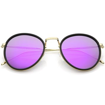 Modern European Mirrored Flat Lens Aviator Sunglasses C317