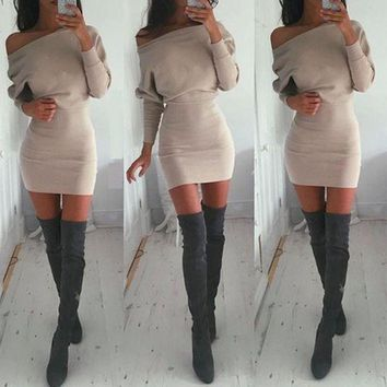 VON7TL Women's Fashion Winter Hot Sale Batwing Sleeve One Piece Dress [31300059162]