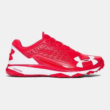 Under Armour Mens UA Deception Baseball Trainer Shoes Red Coaches Shoe