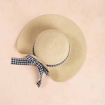 Krista Gingham Bow Straw Hat