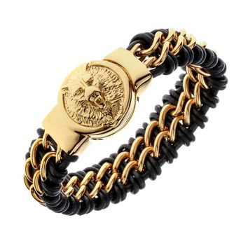 "Mens black leather stainless steel gold silver color wolf chain link bracelet heavy jewelry birthday gifts for dad him 9"" D073"