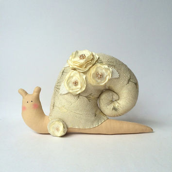 Snail toy, Shabby chic toy, stuffed Snail. Ivory/golden brocade fabric, handmade satin roses. Great elegant deco for home, a lovely gift.
