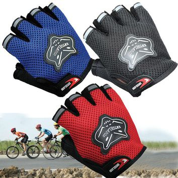 Kids Children's Outdoor Sports Half Finger Gloves Boys & Girls Teens Youth Junior Camping Hiking Bike Bicycle Cycling Fingerless