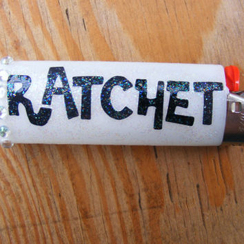 Ratchet Bic Lighter with Rhinestones