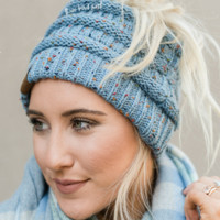 Messy Bun Knitted Beanie - Confetti Denim