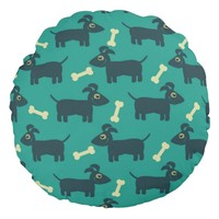Cute Dog Pattern with Bone on Green Background Round Pillow