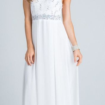 Empire Embellished Waist Cut Out Back Long Formal Dress Off White