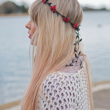 Red Floral and Black Ivy Leaf Trim Fairy Festival Flower Hair Crown Hair Garland