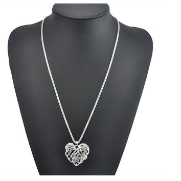 Silver Heart Crystal Rhinestone Pendant Necklace