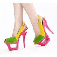 Green Yellow Pink Cocktail Party Platform Stiletto Heels Sandals Shoes SKU-1090308