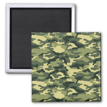 Green Camouflage Pattern 2 Inch Square Magnet