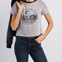 Mountain Graphic Ringer Skimmer Tee | Charlotte Russe