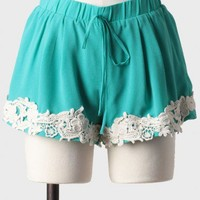 Lake Lucerne Crochet Detail Shorts