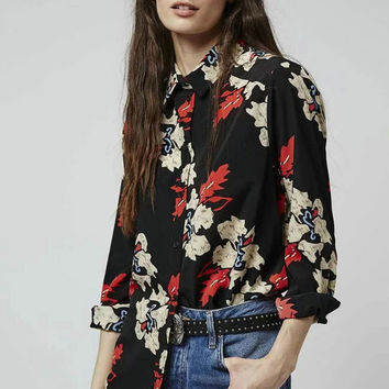 Floral Long Sleeve Shirt Scales [8044791175]